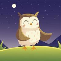 cute owl bird cartoon animal in the grass night sky vector