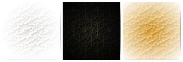 Set of geometric lines floral pattern luxury background vector