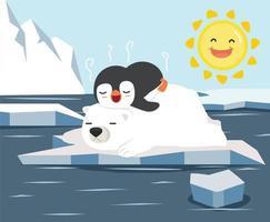 Oso polar con pingüino pequeño duerme en témpano de hielo derretimiento del glaciar vector