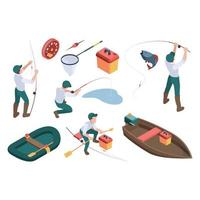 Fishing hobbies sport fisherman relaxing nature spinning rod rubber boat river vector isometric people