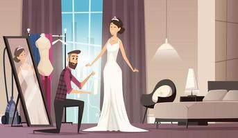 Fitting wedding dress dressmaker making dress beauty bride tailor workshop clothes cartoon vector