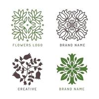 Floral logo botanical stylized elements decoration symbols leaves flowers branches shapes wellness spa cosmetic vector logotype