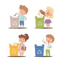 Garbage recycling kids protect environment ecology concept save nature collecting paper bins people vector