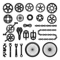 Gears chains wheels other different parts bicycle bike pedal elements cycle biking vector