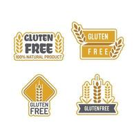 Gluten free badges eco bio farm fresh natural product sticky labels packages no gluten food vector