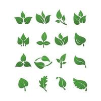 Green leaves logo plant nature eco garden stylized icon vector botanical collection