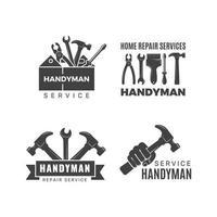Handyman logo worker with equipment servicing badges screwdriver hand contractor man symbols equipment repair construction logo service logotype toolbox illustration vector