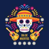 Dia de Muertos Sugar Skull Background vector