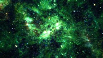 space travel through grunge dark green cloud  Nebula galaxy exploration through outer space video