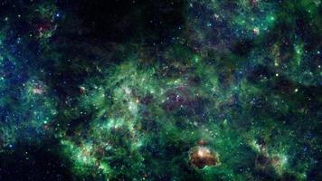 space travel through grunge dark green cloud Nebula galaxy lPIA15256 video