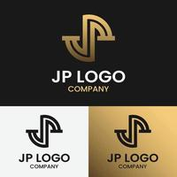 Monogram Letter Initial JP DP for General Finance Fashion Business Brand Company in Simple Line Retro Hipster Style Logo Design Template vector