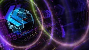 Quantum computer digital ring futuristic technology matrix polygon video