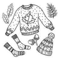 Set of elements for a cozy autumn. Warm clothes. Camping in the woods. Black outline. vector