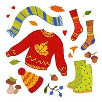 Cozy autumn elements set. Cozy warm clothes for autumn, wild berries, mushrooms. Hike to the forest for mushrooms. vector