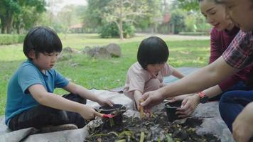 Asian parents teaching their kids to make compost while camping video
