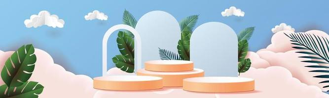 3d geometric podium mockup leaf tropical natural concept for showcase green background Abstract minimal scene product presentation vector illustrator