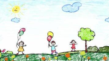 Cartoon kids background video
