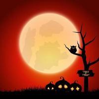 Halloween illustration with big glowing moon ball on night sparkle sky vector