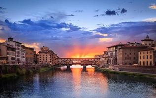 Sunset of Ponte Vecchio in Florence, Italy photo