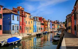 Canal in Burano island WITH COLORFUL BUILDINGS photo