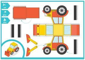 excavadora cortar y pegar un carro de papel. juego de arte infantil para la página de actividades. vector