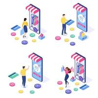 Set of Online shopping concept. Woman and man buy things on the site. vector