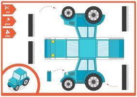 tractor Cortar y pegar un carro de papel. juego de arte infantil para la página de actividades. vector