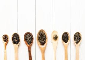 assortment of dry tea in spoons, isolated on white photo