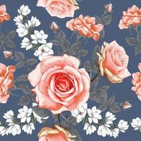 Seamless pattern botanical pink rose and white magnolia flowers  background. vector