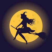 silueta de bruja de halloween en una escoba frente a la luna. vector