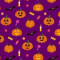 Seamless Halloween Pattern with pumpkins, candy, bat and candle. vector