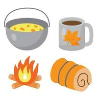 Set of touristic and camping equipment. Food pot, metallic cup or mug with tea, bonfire and sleeping bag. Things for active vacations. Luggage icons for travel, journey and hike vector