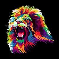 Colorful lion head illustration vector