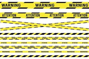 Ribbon banner with warning tape. Police line set. caution, attention, restriction. Traffic sign. vector