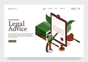 People character in lawyer office signing legal contract follow the advice isometric concept Premium Vector