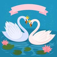 Two swans on the lake. Swans in a pond water plants vector