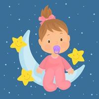 Baby girl with bow in hair, pacifier and pink romper, sitting on the moon with starry sky behind vector