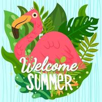 Colorful summer scene with flamingo and tropical leaves behind vector