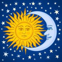 Ethnic sun and moon with starry sky behind vector