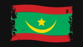 Mauritania Flag Transparent Watercolor Painted Brush vector
