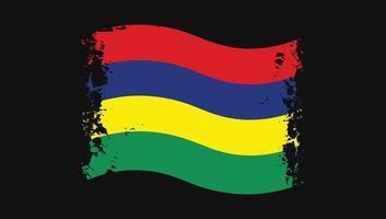 Mauritius Flag Transparent Watercolor Painted Brush vector