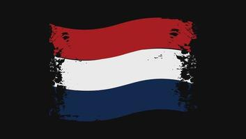 Netherlands Flag Transparent Watercolor Painted Brush vector