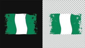 Nigeria Wavy Flag grunge Png Brush vector