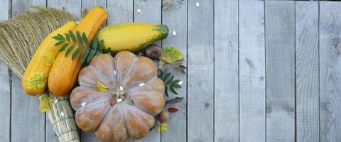 Pumpkin and zucchini on a wooden background with an empty field photo