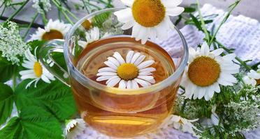 Chamomile tea and flowers. Cup with tea on a wooden background photo