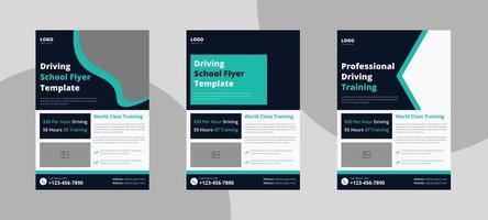 diseño de volante de la escuela de conducción. conducir plantilla de folleto de volante de cartel de enseñanza. cartel de instructor de lección de conducción diseño de folleto vector