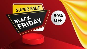 black friday sale banner. red background vector