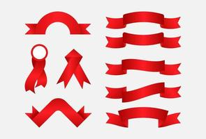 realistic red ribbon banner collection. vector illustration