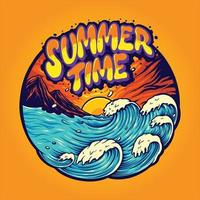 Summer Time Landscape Holiday Illustrations Vacations vector