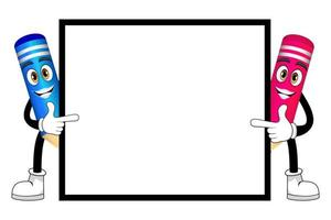 Happy cute mascot pencil characters standing behind and pointing to blank placard together with cheerful facial expression isolated vector